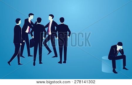 Vector Illustration. Excommunicated Ostracised Businessman Concept, Sad Depressed Frustated Man