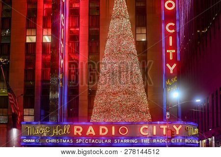 New York City - Radio City Music Hall At Rockefeller Center In New York, Ny. Completed In 1932, The