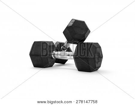 Two dumbbells on white background