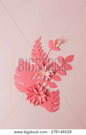 Handmade Decorative Paper Pattern From Tropical Monochrome Flower  Leaves On A Pastel Pink Backgroun