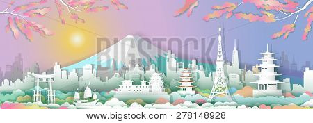 Traveling Go To Japan With Sailboat, Landmarks Of Asean With Architecture Culture City And Tourism,