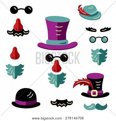 Set With Hats, Eyeglasses, Beard And Mustache. Man Faces Avatar Creator. Create Your Own Icons For S