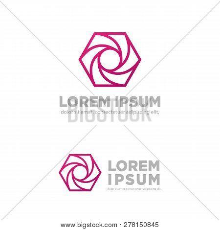 Hexagon Photography Creative Logo Template Vector Illustration