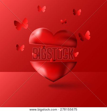 Happy Valentine Is Day Greeting Card Is A Blank Mockup 3d Love Installation Vector Illustration, Man