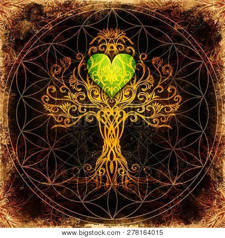 Tree Of Life Symbol On Structured Ornamental Background With Heart Shape, Flower Of Life Pattern, Yg