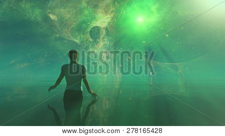 Stargate, The Portal To Other Worlds, The Gate Of The Soul In The Apocalypse. Man In The Dream World