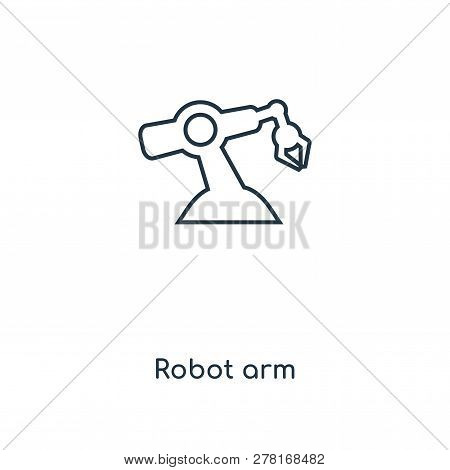 poster of robot arm icon in trendy design style. robot arm icon isolated on white background. robot arm vector icon simple and modern flat symbol for web site, mobile, logo, app, UI. robot arm icon vector illustration, EPS10.