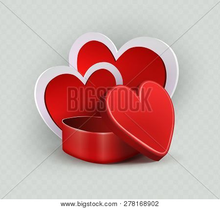 Composition With A Red Casket And The Silhouette Of Two Hearts With A White Border.