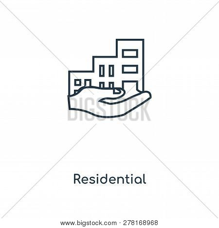 Residential Icon In Trendy Design Style. Residential Icon Isolated On White Background. Residential
