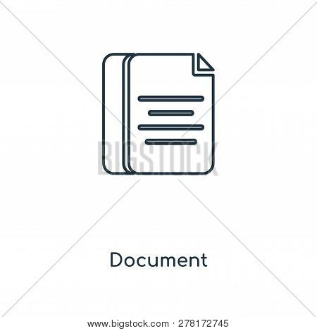 Document Icon In Trendy Design Style. Document Icon Isolated On White Background. Document Vector Ic