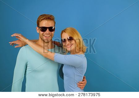 Simple Joy Of Loving. Love Relations. Couple In Love. Couple Of Man And Woman Wear Fashion Glasses.