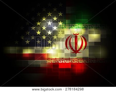 Us Iran Conflict And Sanctions Or Harmony - 2D Illustration