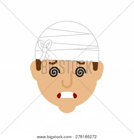 Concussion Bandaged Head. Headache. Metaphor Of Problems And Reduced Health. Pain Medical Health Car