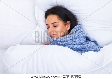 Ill Woman Caught Cold, Having Fever And Measuring Temperature With Thermometer. Portrait Of Sick Gir