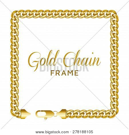 Gold Chain Square Border Frame. Rectangle Wreath Shape. Realistic Vector Illustration Isolated On A