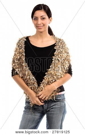 Beautiful young Mexican woman in a black shirt and a couture tan  multi-hued feather wool  shawl