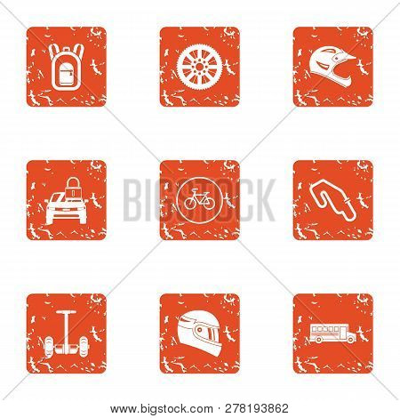 Reaction Of The Rider Icons Set. Grunge Set Of 9 Reaction Of The Rider Icons For Web Isolated On Whi