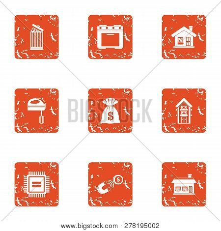 Grist Icons Set. Grunge Set Of 9 Grist Icons For Web Isolated On White Background