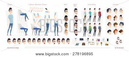 Young Man Character For Your Print, Web And Motion Design. Creation Kit. Set Of Flat Male Cartoon Ch