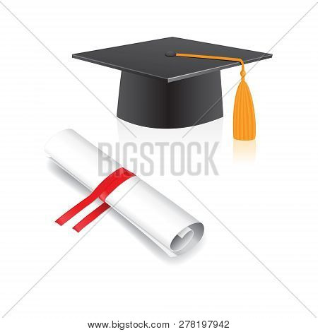 Document Scroll, Graduation Cap Isolated On A White Background