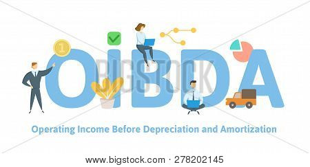 Oibda, Operating Income Before Depreciation And Amortization. Concept With Keywords, Letters And Ico