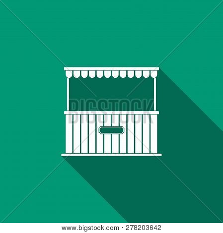 Street Stall With Awning And Wooden Rack Icon Isolated With Long Shadow. Kiosk With Wooden Rack. Fla