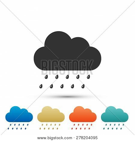 Cloud With Rain Icon Isolated On Grey Background. Rain (nimbus) Cloud Precipitation With Rain Drops.