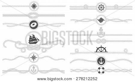 Nautical Rope Border. Nautical Tied Ropes Line, Sea Ship Anchor Divider And Retro Marine Decor Borde