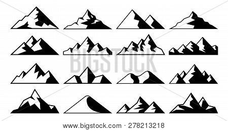 Mountain Peak Icon. Tibet Mountains, Berg Hills Tops And Everest Hill Landscape Vector Icons Set