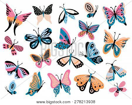 Hand Drawn Butterfly. Flower Butterflies, Moth Wings And Spring Colorful Flying Insect Isolated Vect