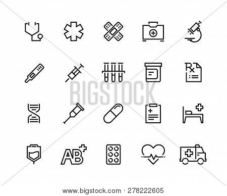 Medical Care Line Icons. Family Healthcare, Patient Treatment, Medical Insurance, Cardiology Surgery