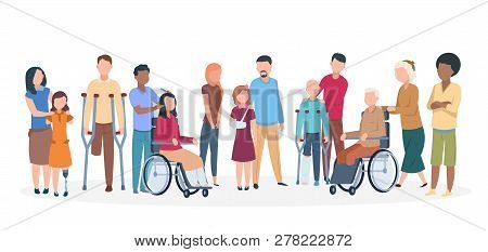 Handicapped People. People With Disabilities Happy Friendly Family. Disable Injury Persons With Assi