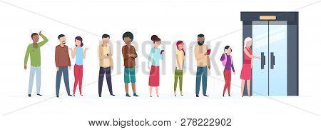 Open Door Queue. Trending People Characters Standing Outside Young Adult Customer Line Group Stylish