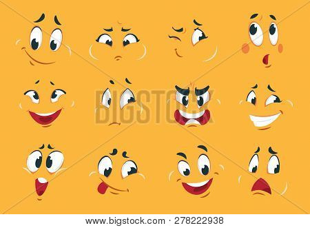 Funny Cartoon Faces. Angry Character Expressions Eyes Doodle Crazy Mouth Fun Sketch Weird Comic. Vec