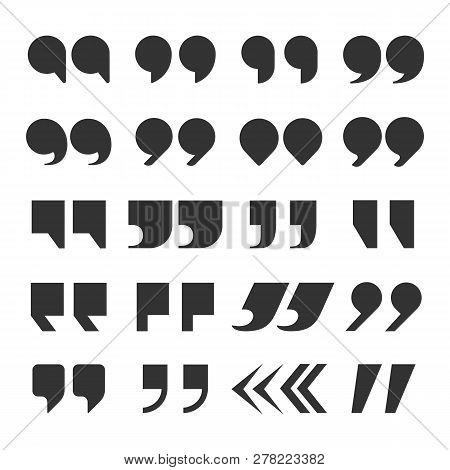 Quotes Marks. Quotation Marking Speech Punctuation Excerpt Commas Double Comma. Remark Button Vector