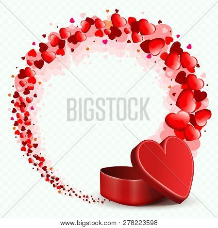 Composition With A Red Casket And A Round Wreath Drawn From Many Hearts.