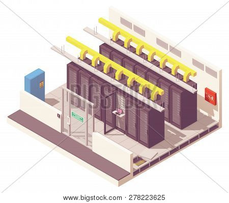 Vector Isometric Server Room Or Data Center With Server Racks And Air Conditioning System And Card R