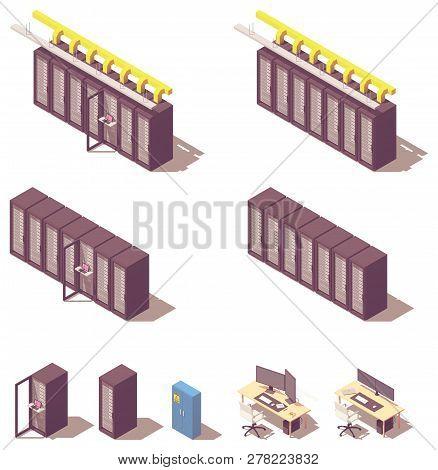 Vector Isometric Data Center Or Server Equipment. Server Racks Rows, Rack With Open Door And Adminis