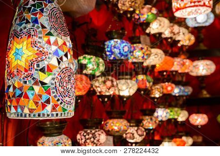 Beautiful Lamps In Grand Bazaar, Istanbul, Turkey. Panorama Of Colorful Oriental Gifts. Stained Glas