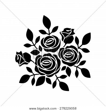 Roses Icon Vector In Modern Flat Style For Web, Graphic And Mobile Design. Roses Icon Vector Isolate