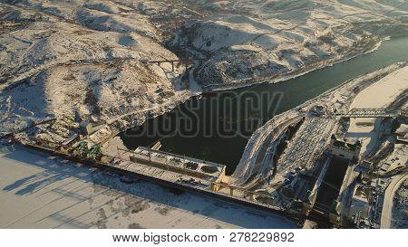 Nature, Winter, Landscape, Dam, River, Ice, Mountains, Hpp, Station, Irtysh, Kazakhstan