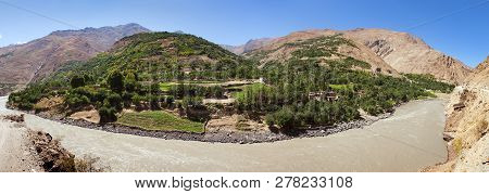 Panj River And Pamir Mountains. Panj Is Upper Part Of Amu Darya River, Panoramic View, Tajikistan An