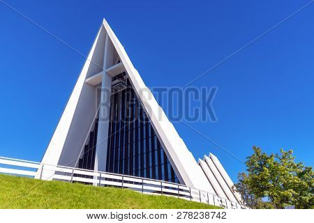 Tromso, Norway - August 18, 2016: The Facade Of The Minimalistic White Arctic Church On A Sunny Day.