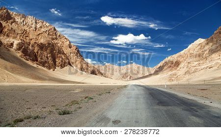 Pamir Highway Or Pamirskij Trakt Landscape Around Pamir Highway M41 International Road Mountains In