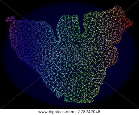 Spectrum Colored Mesh Vector Map Of Moorea Island Isolated On A Dark Blue Background. Abstract Lines