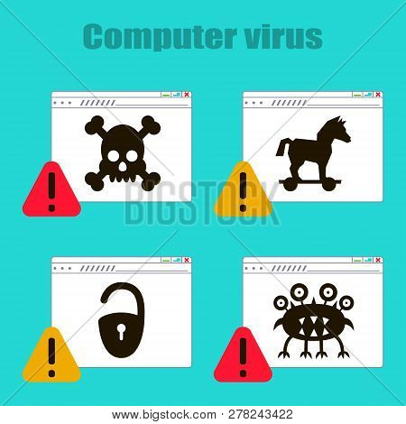 Set of icons on the theme of computer viruses, Trojan horse, castle, virus, skull on the Internet page. Vector illustration poster