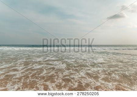 South Mediterranean Coast Of Sardinia Island, Italy. Beautiful Blue Mediterranean Sea And Sky. Famou