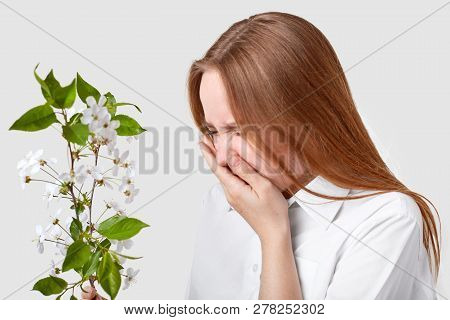 Sideways Shot Of Displeased Woman Suffers From Allergy, Stands In Front Of Branch With Blossom, Snee