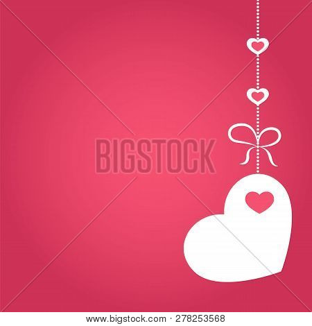 Vector Illustration Of Love, Wedding Or Valentine Day Banner With Decoration In Form Of Heart Hangin