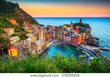 Majestic Touristic Village On The Hill With Colorful Mediterranean Buildings. Fantastic Travel And P